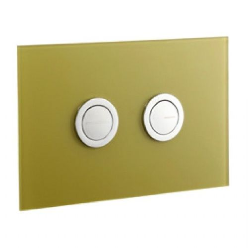 Abacus Lustrolite Press Panel Glass Effect Dual Flush Plate - Forest